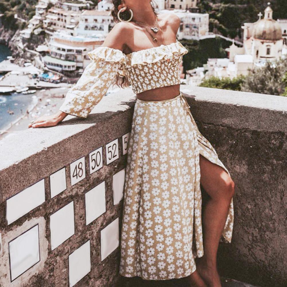 2Pcs Women Flower Off Shoulder Ruffle Long Sleeve Crop Top Split Maxi Skirt Set