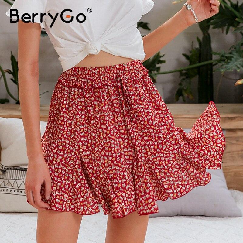 BerryGo Red Floral Print Boho Skirts Womens 2020 Summer Beach Bohemian Mini Skirt Casual High Waist Lace Up Ruffles Short Skirt