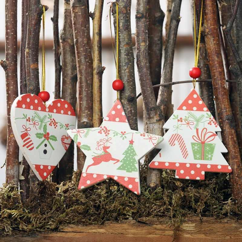 Kayu Natal Liontin Pohon Natal Jatuhkan Ornamen Deocrative Liburan Decorationscmma
