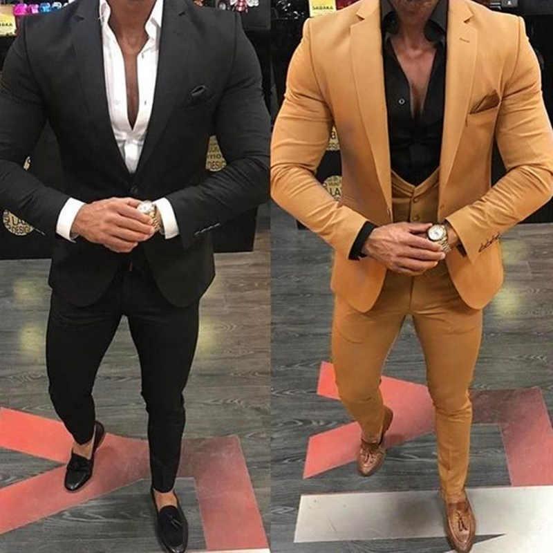 カーキ/黒の男性が結婚式 3 個ビジネススーツブレザーピークラペル衣装オム Terno パーティースーツ (ジャケット + パンツ + ベスト)