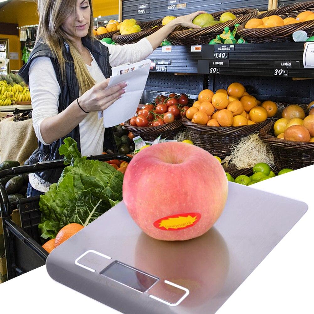 Электронные кухонные весы, цифровые пищевые весы из нержавеющей стали с ЖК-дисплеем, высокоточные измерительные инструменты, весы для приготовления пищи-5