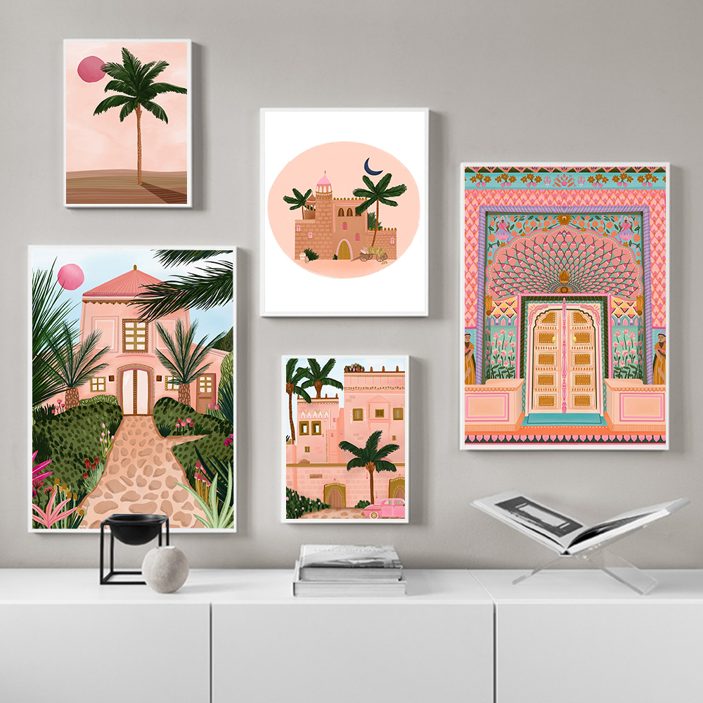 Moroccan Wall Art Canvas Poster Pink Lotus Gate Palm Building Moon Print Nordic Decorative Picture Painting Modern Mosque Decor