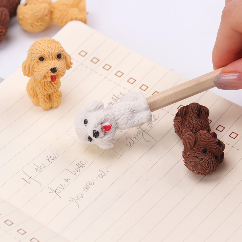 1PC Cartoon Cute Dog Rubber Eraser Art School Supplies Office Stationery Novelty Pencil Correction School Office Supplies