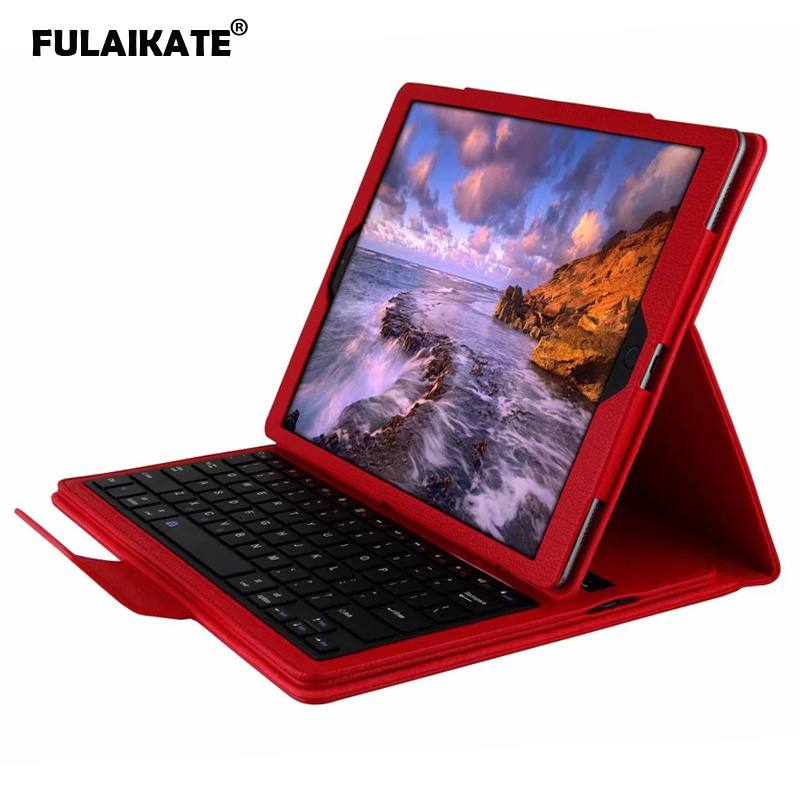 FULAIKATE Bluetooth Keyboard for iPad Pro 12.9 2015/2017 Litchi Stand Flip Case Removeable Business Back Cover Wireless Keyboard image