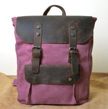 Luufan New Multifunction Fashion Men Backpack Vintage Canvas Leather School Bag Neutral Portable Wearproof Travel