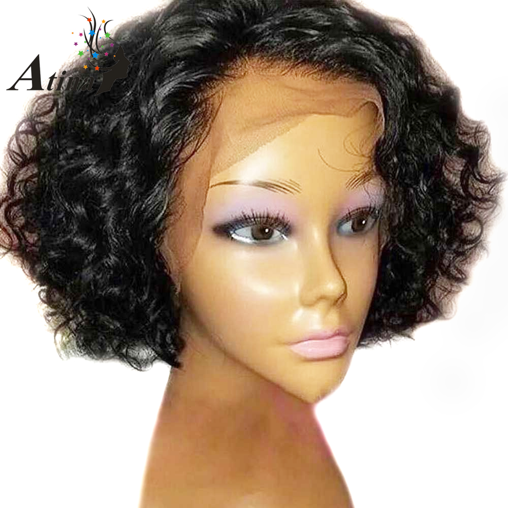 Pixie Cut Wig Short Curly Human Hair Wigs With Baby Hair Pre Plucked Glueless Bob Lace Front Natural Wig For Black Women Atina