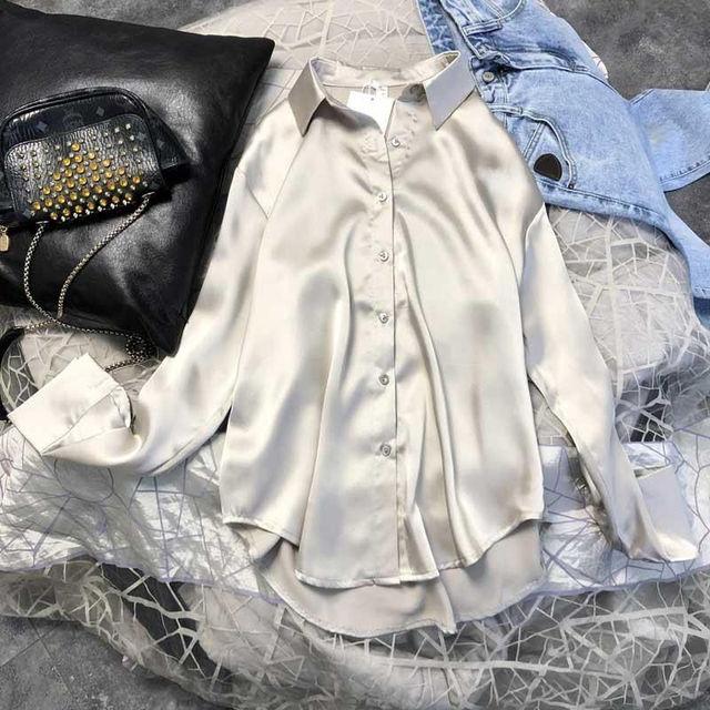 Primavera 2021 das mulheres roupas de seda camisa do vintage blusa feminina superior sheer vestido de manga comprida camisa plus size mulher overshirt 2