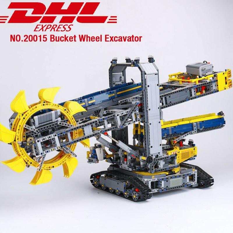 DHL 20015 Technic samochód zabawki 42055 wiadro koparka kołowa zestaw klocki klocki zestawy do montażu zabawki dla dzieci boże narodzenie prezenty w Klocki od Zabawki i hobby na  Grupa 1