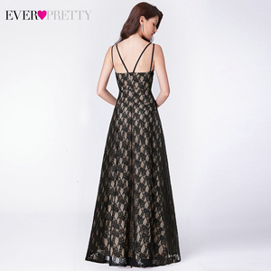 Image 2 - Ever Pretty Black Lace Long Evening Dresses A Line V Neck Sleeveless Spaghetti Straps Black Evening Gowns Vestido Formal Mujer