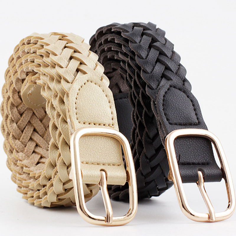 Retro Stretch Woven Belt Solid Color Women's Belt With Square Gold Metal Buckle Female Belt Casual Waist Belt Braided Waist Belt
