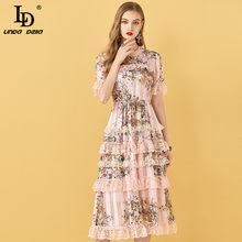 LD LINDA DELLA Oansatz Rüsche Boho Frauen Kleid Sommer Mode Designer Spitze Patchwork Druck Chiffon Floral Elegante Tiered Kleid