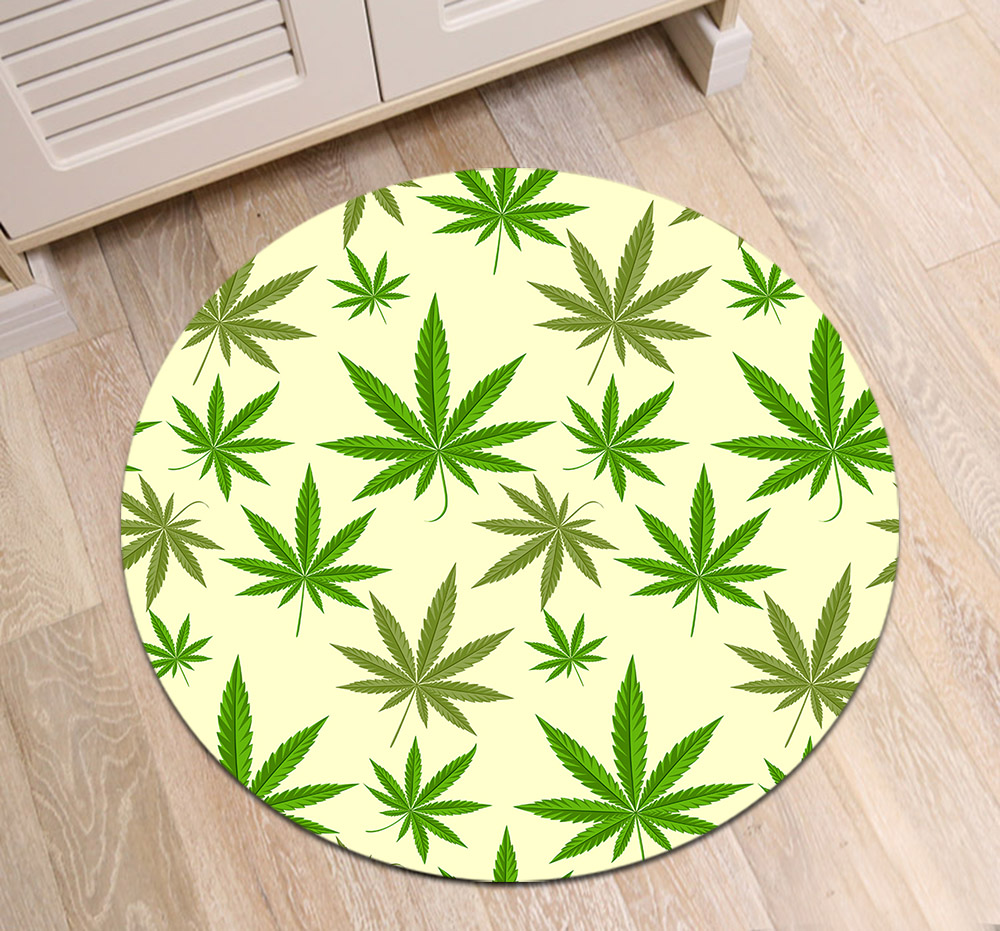 Green Marijuana Round Carpets For Living Room Green Tropical Leaf Plant Printed Parlor Bedroom Chair Rugs Decorate Non Slip Mat Bath Mats Aliexpress
