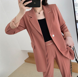 Grote maat XL-5XL dames suits hoge kwaliteit Herfst temperament lange roze jasje vrouwelijke Temperament Slim Broek Sets 2019 nieuwe