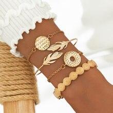 Pulsera de 4 piezas con plumas redondas para mujer, joyería de moda y temperamento elegante con pluma redonda sólida hueca