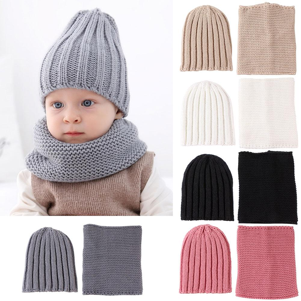 2pcs/set Lovely Baby Boy Girl Yarn Knitted Winter Warm Beanie Cap Hat Scarf Set Warm Neck Collar Kids Beanies Sets