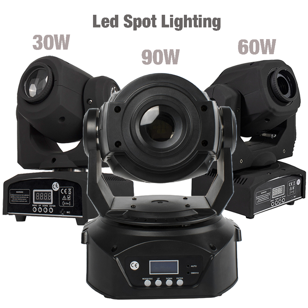 2pcs LED Spot 90W With 6 Face Prism 30W/60W Spot Light DMX512 Stage Effect DJ Disco Party Dance Floor Sound Controller Music