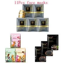 11Pcs mixed 24K Gold mask plant Lily beans tea Collagen Face Mask Moisturizing Anti-Aging black Facial Masks korean skin care