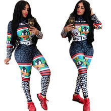 Africa Autumn Letter Cartoon Striped Printed Bandage Rompers Womens Jumpsuit Zip