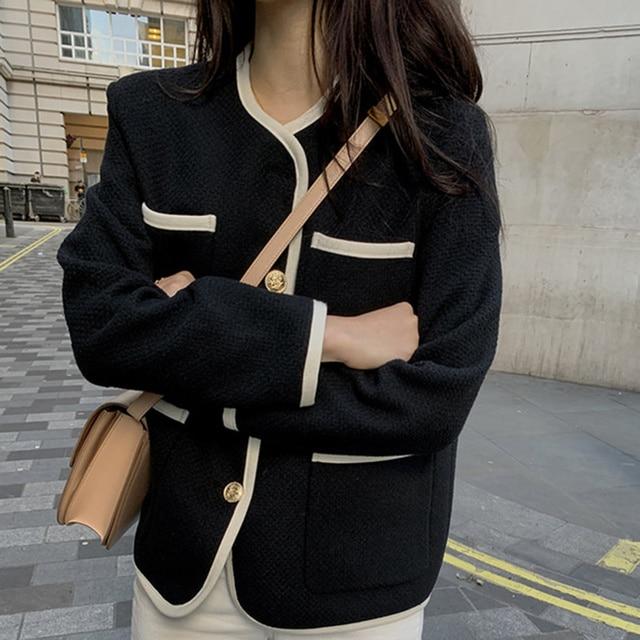[EWQ] 2021 Autumn Casual New Female Round Neck Single Breasted Loose Panelled Short Jacket Tweed Cardigan Coat 8Y543 2