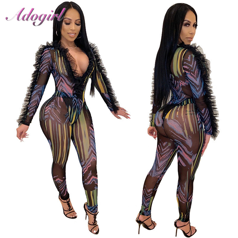 Sexy Print Ruffle Sheer Mesh Night Party Club Skinny Jumpsuit Women 2020 Spring Deep V Neck Long Sleeve Outfit Rompers Overalls
