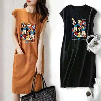 12 Styles Disney Anime Mickey Minnie Mouse Summer Dresses for Women 2021 Sleeveless Loose Midi Casual Dress Ladies Fashion Y2k