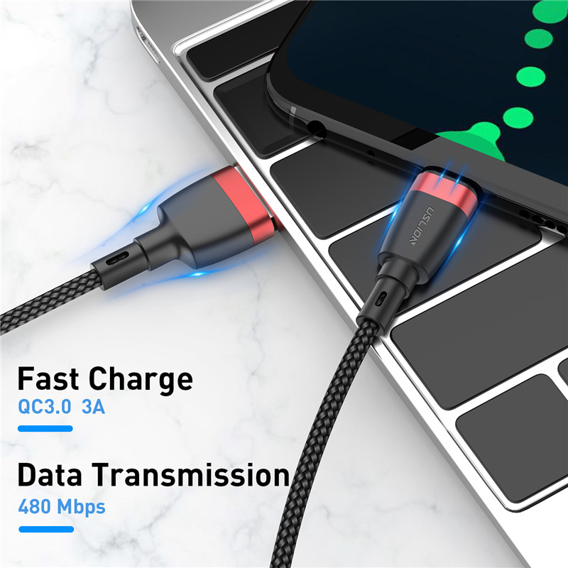 USLION USB Type C Cable for Samsung S10 S9 S8 3A Fast Charging Type C Phone