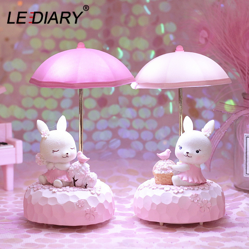 LEDIARY Resin Elephant Night Light Astronaut Wind Chimes Music Box Rabbit Animal Table Lamp Bedroom Decor Girl Children Gift