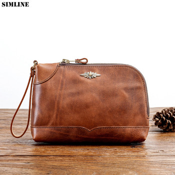 Genuine Leather Clutch Bag For Men Male Vintage Cowhide Luxury Large Capacity Long Wallets Purse Zipper Phone Bags Card Holder фото