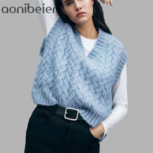 Aonibeier – gilet en tricot torsadé bleu pour femme, Pull-over Vintage, col en V, Pull Sans manches, hiver