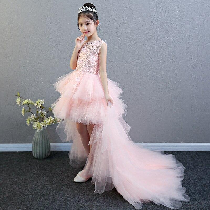 Flower Boys/Flower Girls Princess Dress Girls Puffy Yarn Children Catwalks Wedding Dress Tailing Evening Gown Host Piano Costume