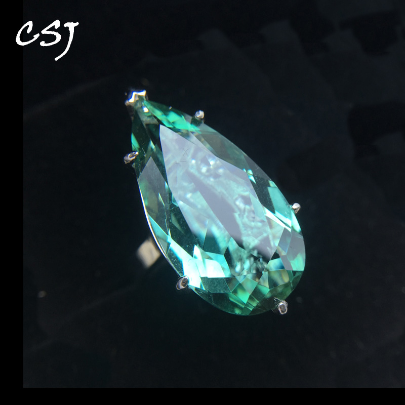 CSJ Elegant green amethyst ring big stone pear13*25mm 16ct sterling 925 silver fine jewelry for women girl party with gift box