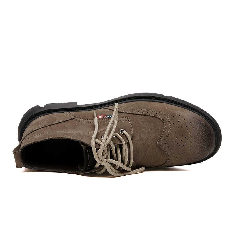 2019 Degli Uomini di Inverno Caldo Neve Stivali In Pizzo Up Scarpe Impermeabili Da Uomo Casual Traspirante Stivali Da Lavoro di Sicurezza In Gomma Confortevole Caviglia Scarpe