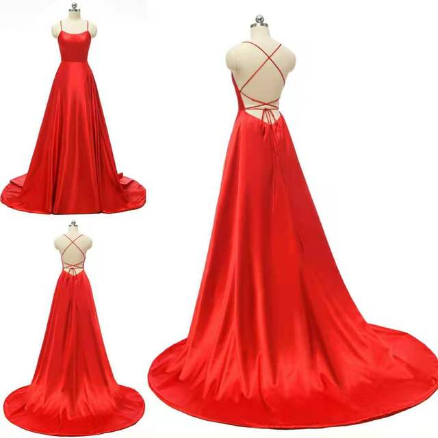 Women's Halter Satin Long Prom Dresses with Pockets Criss Cross Open Back Side Slit Dinner Party Dresses Free Shipping 6