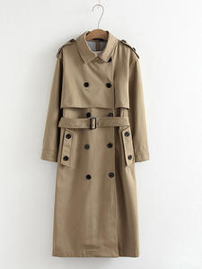 Outwear Coat Epaulet-Design Office Long-Trench 902229 Chic Double-Breasted Solid-Color