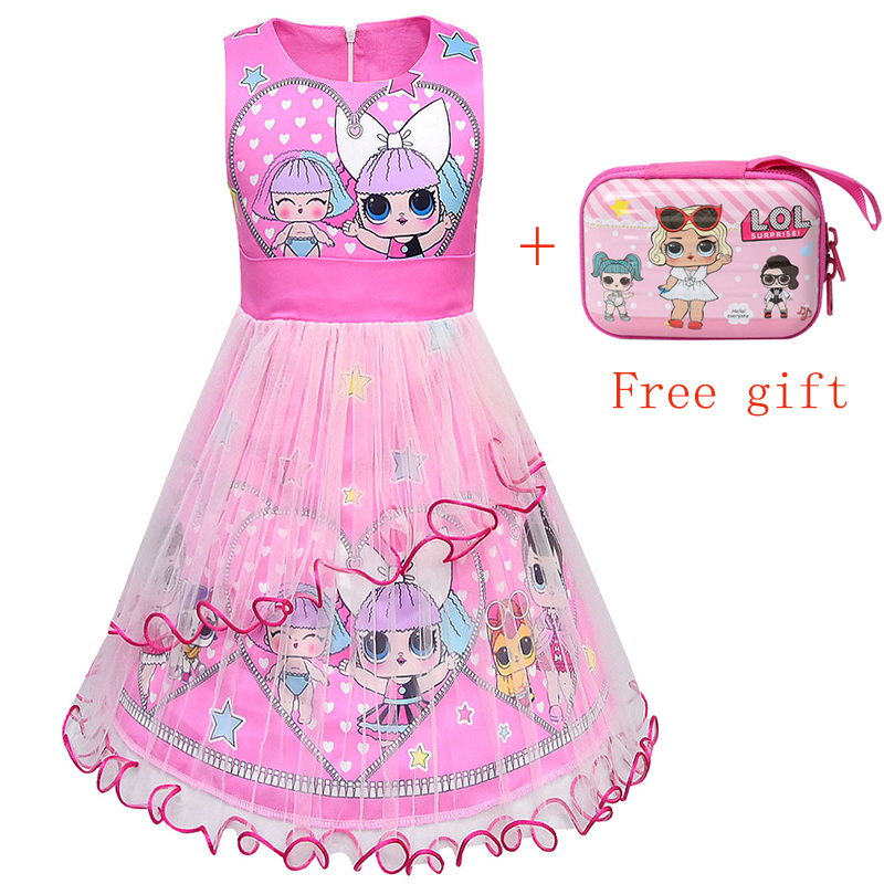 Summer 2019 Toddler Girls Cartoon Lol Dress Kids Baby Mesh Clothes Princess Dress Bow Dresses Vestidos With Wallet For Girl