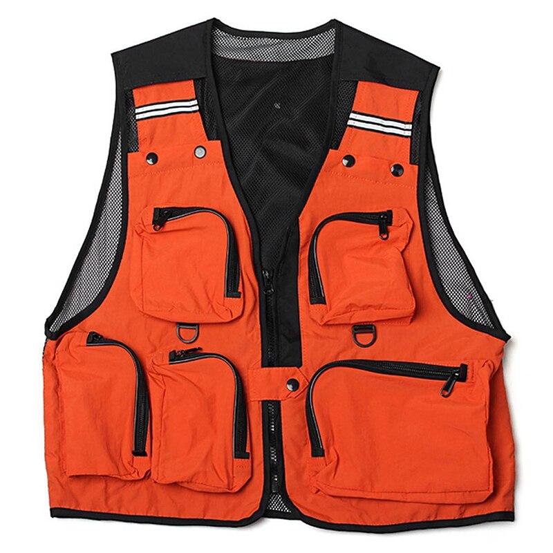 Lightweight, Comfortable, Multi-Pocket Fishing Net Vest Hunting Work Vest Outdoor Vest Orange L