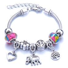 10 Pcs/Lot Love Elephantshape Bracelet Jewelry 6 Colors Lobster Buckle Snake Chain Bangles Beaded Bracelet Fit Jewelry