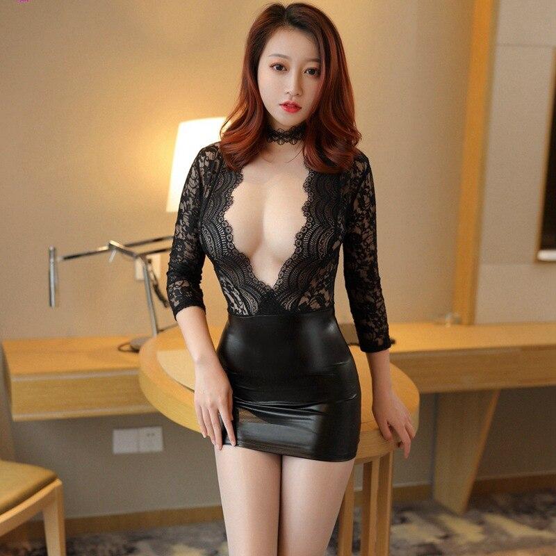 Erotic Cosplay Secretary Teacher Uniform Nightclub Sexy Temptation Skinny Mini Ice Silk Dress Lace See Through Sex Party Costume