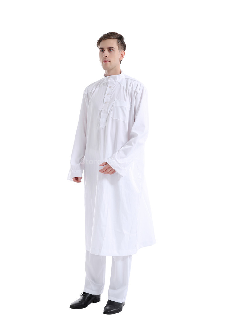 H8fe8747813754b01a80da07779fb8942v - Islamic Clothing Men Muslim Robe Arab Thobe Ramadan Costumes Solid Arabic Pakistan Saudi Arabia Abaya Male Full Sleeve National