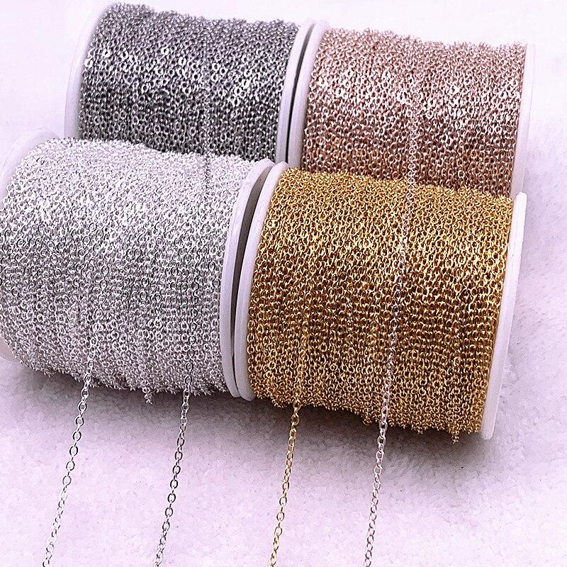 5 ярдов позолоченная/Посеребренная цепочка для ожерелья, фурнитура для изготовления ювелирных изделий «сделай сам», цепочки для ожерелья, м...
