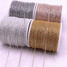 Cadena de collar chapada en oro/plata de 5 yardas, para fabricación de joyas, accesorios para manualidades, collar, cadenas, materiales hechos a mano