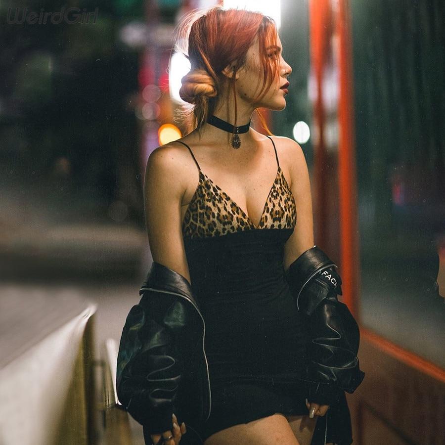 Weirdgirl Women Cotton Leopard Pint Dress Patchwork Black Deep V-neck Sleeveless Slim Bodycon Mini Vestidos 2020 Spring