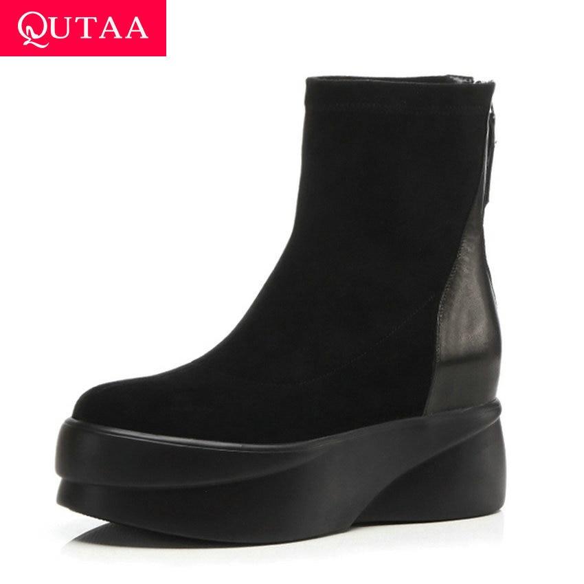 QUTAA 2020 plate-forme bout rond Zipper bottines hauteur augmentant Patchwork en cuir de vache troupeau loisirs femmes chaussures taille 34-39