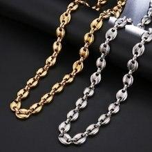 Homens punk rock ouro cor de alta qualidade metal grãos de café link corrente colar jóias