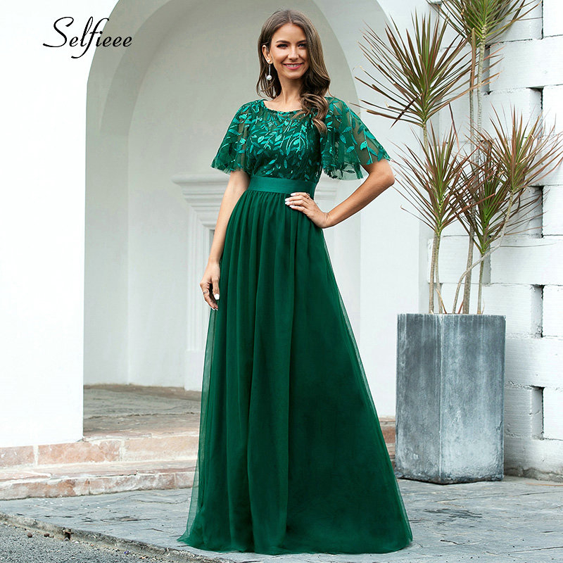 New Autumn Decoration Dress Elegant A Line O Neck Flare Sleeve Sequined Long Formal Party Dresses For Women Plus Size Fall 2020