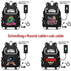 36-55L 46*35*14cm Brawling Backpack Stars Leon Game Bag Travel Backpack USB Charging Backpack With Headphones Hole Student Bag