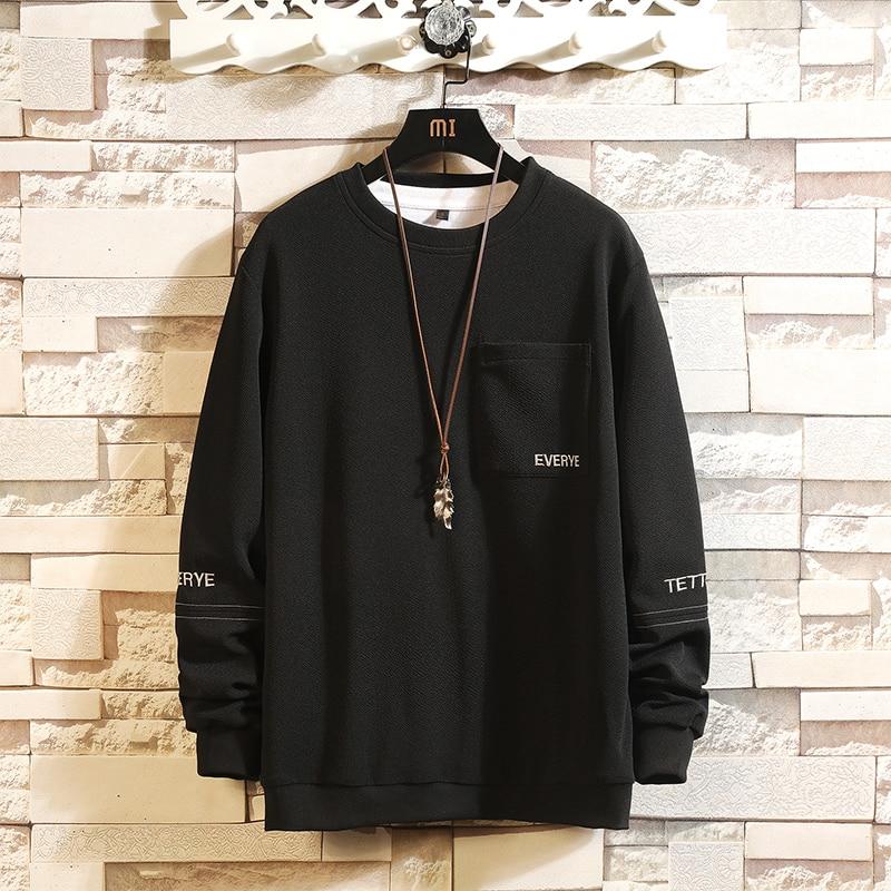 2020 New Quality Hoodie Men Loose Street Hip Hop Print Wild Pullover Sweatshirt Casual Black Top Men Brand Hoodie Men 3XL