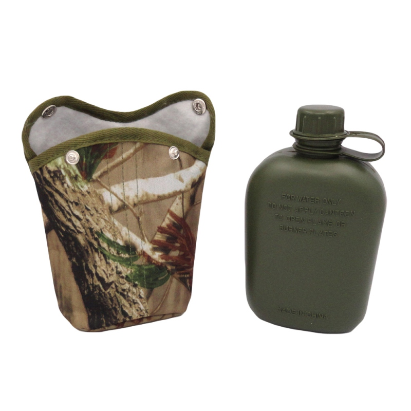 1L Outdoor Sport Hunting Military-Style Canteen Bottle Plastic Camping Hiking Survival Water Bottle Kettle With Cloth Cover KT01