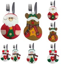 Snowman Santa Claus Elk Cutlery Suit Holders Pockets Knifes Forks Tableware Bags Christmas Dinner Table Home Decor(China)