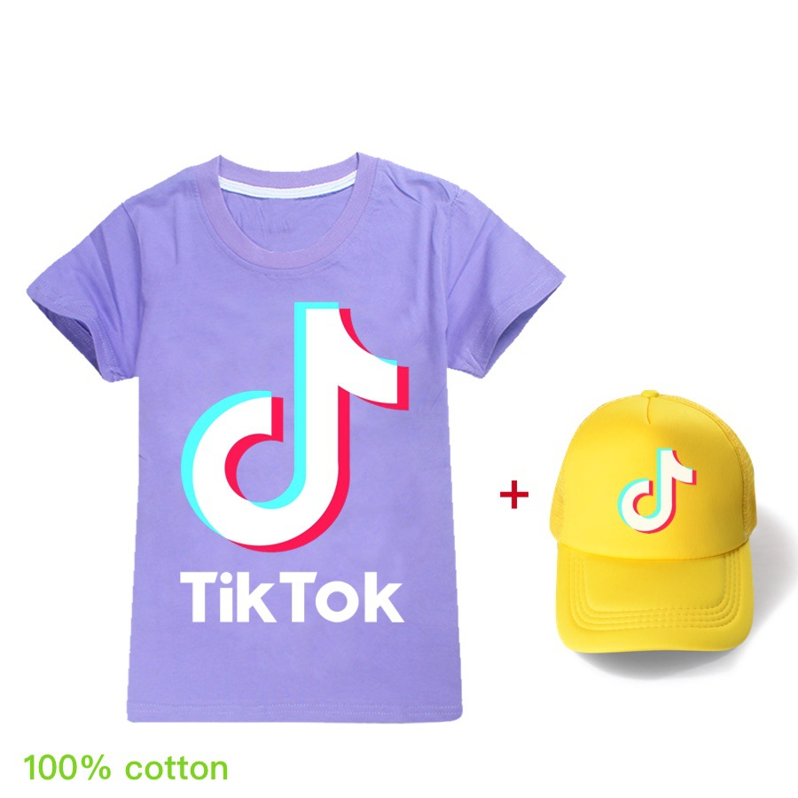 2-15 Years Summer T Shirts for Children 2020 Fashion Tiktoker Short Sleeve T-shirt Hip-hop Top Tee Boys Girls T-shirt/Peaked cap
